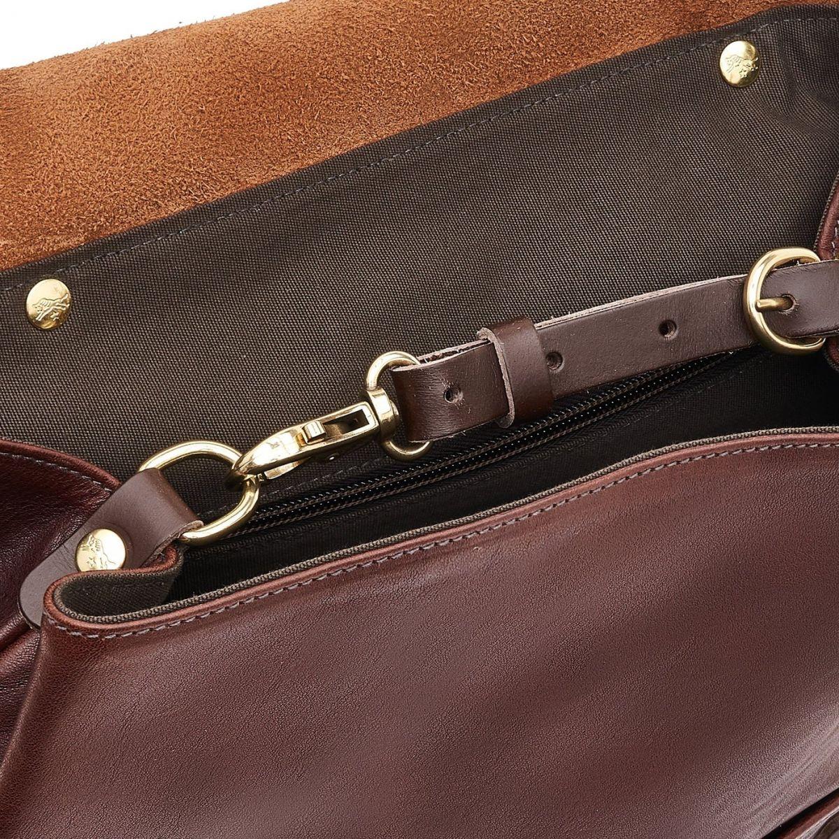 Trappola - Men's Backpack in Vintage Cowhide Leather BBA002 color Dark Brown | Details