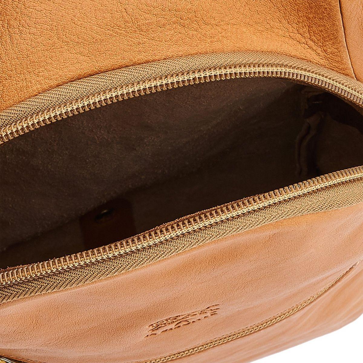Sac A Dos pour Homme en Cuir De Vachette Vintage BBA005 couleur Naturel | Details
