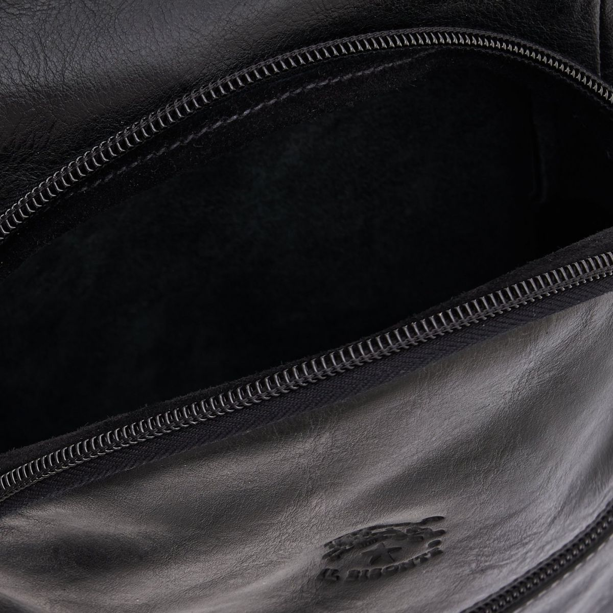 Men's Backpack in Cowhide Double Leather BBA005 color Black | Details