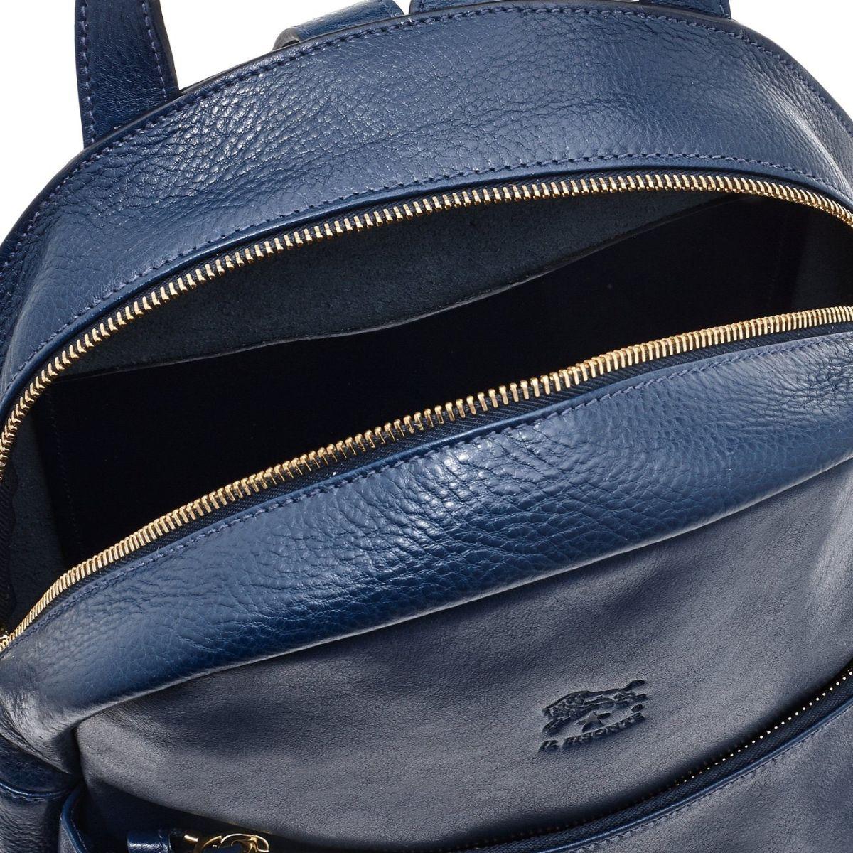Sac A Dos pour Femme Lungarno en Cuir De Vachette Doublé BBA017 couleur Bleu | Details