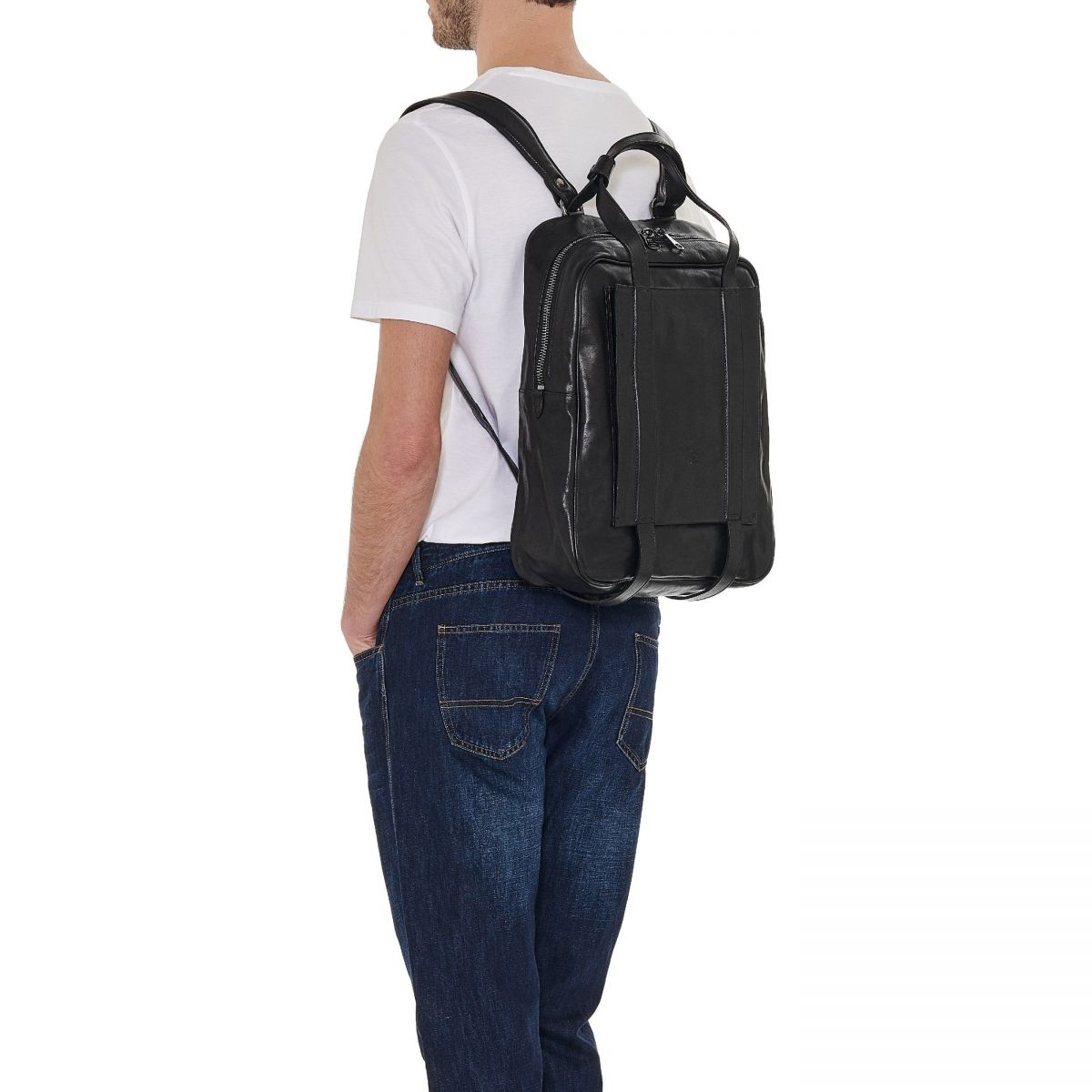 Men's Backpack Sprint in Vintage Cowhide Leather BBA039 color Black | Details