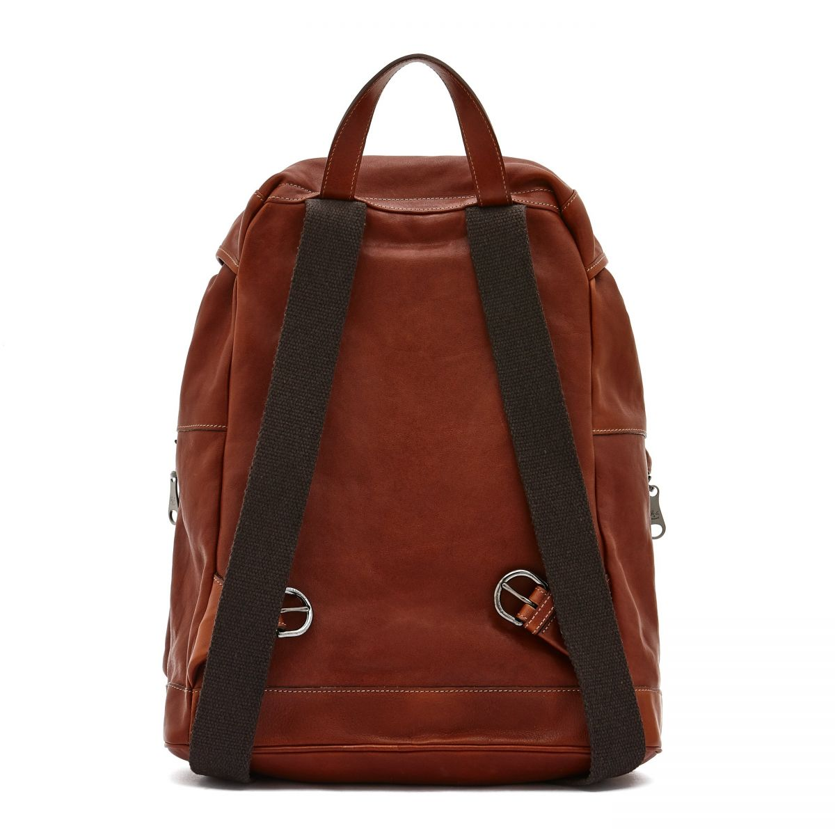 Men's Backpack Luca in Vintage Cowhide Leather BBA041 color Dark Brown Seppia | Details