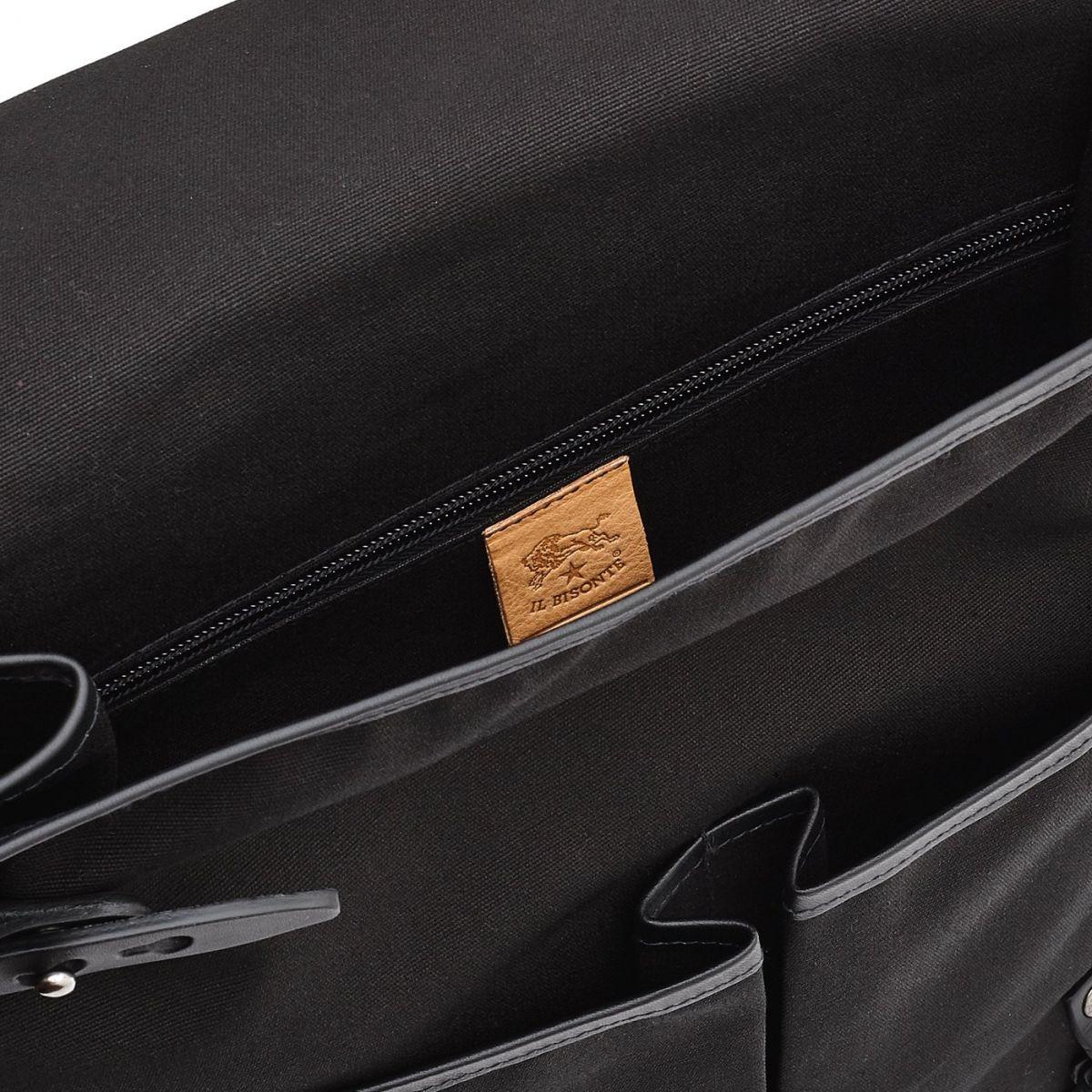 Men's Backpack  in Cotton Canvas BBA046 color Black/Black | Details