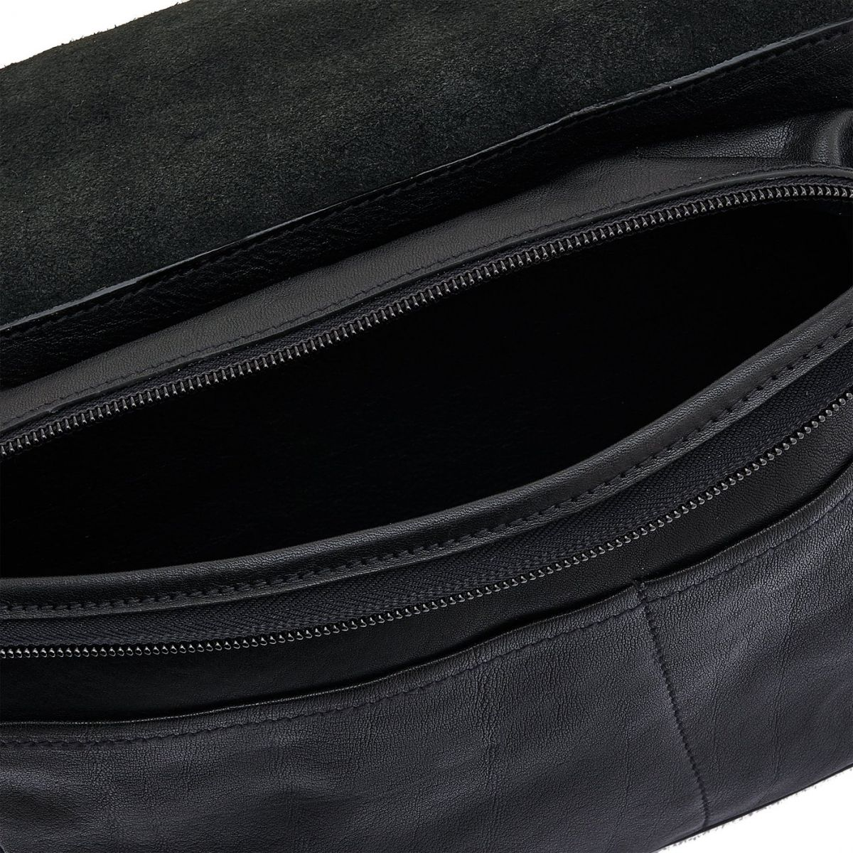 Men's Belt Bag in Vintage Cowhide Leather BBB011 color Black | Details