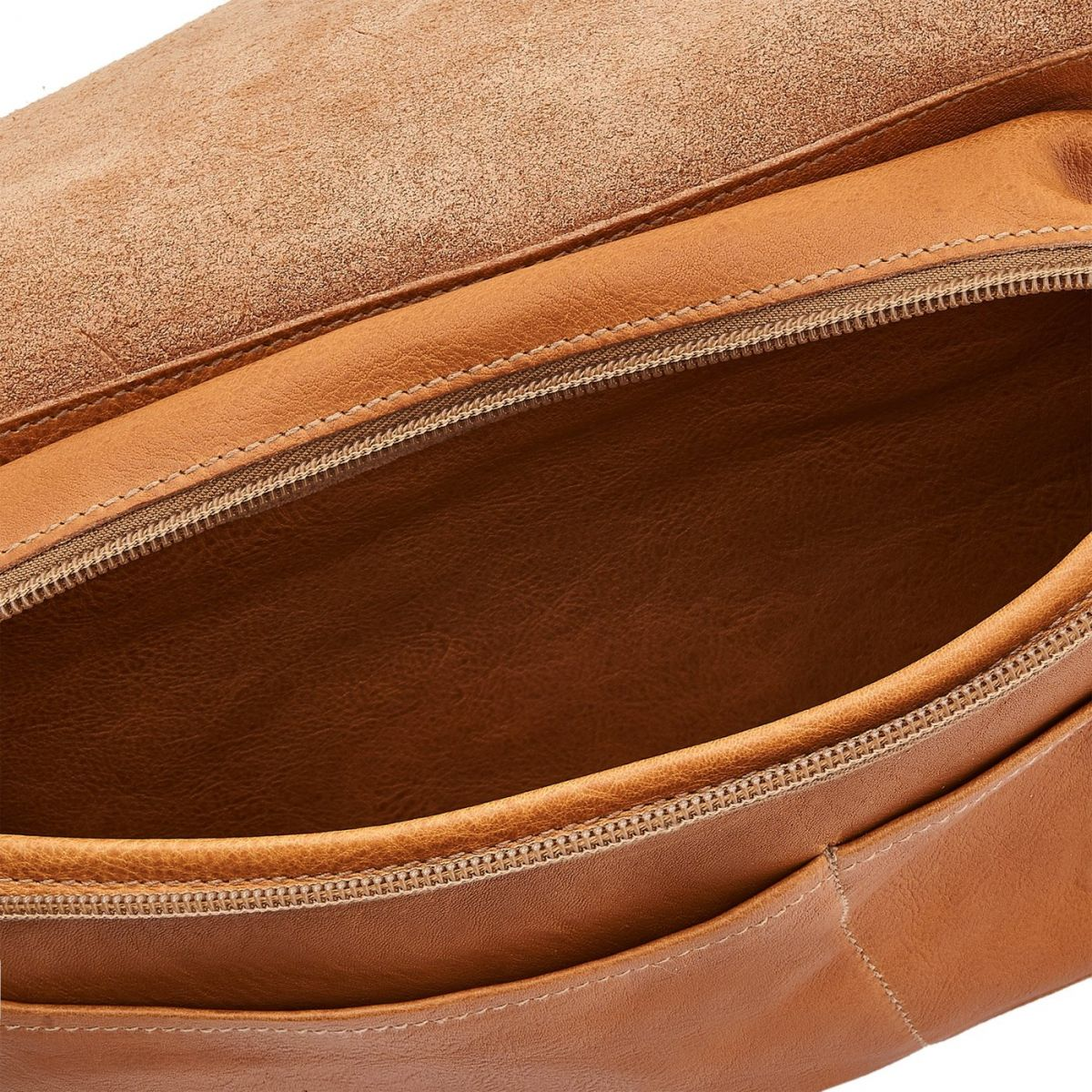 Men's Belt Bag in Vintage Cowhide Leather BBB011 color Natural | Details