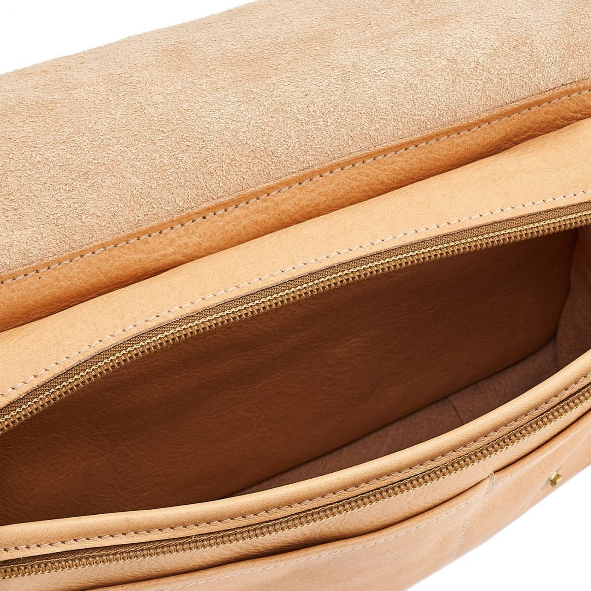 Men's Belt Bag in Cowhide Double Leather BBB011 color Natural | Details