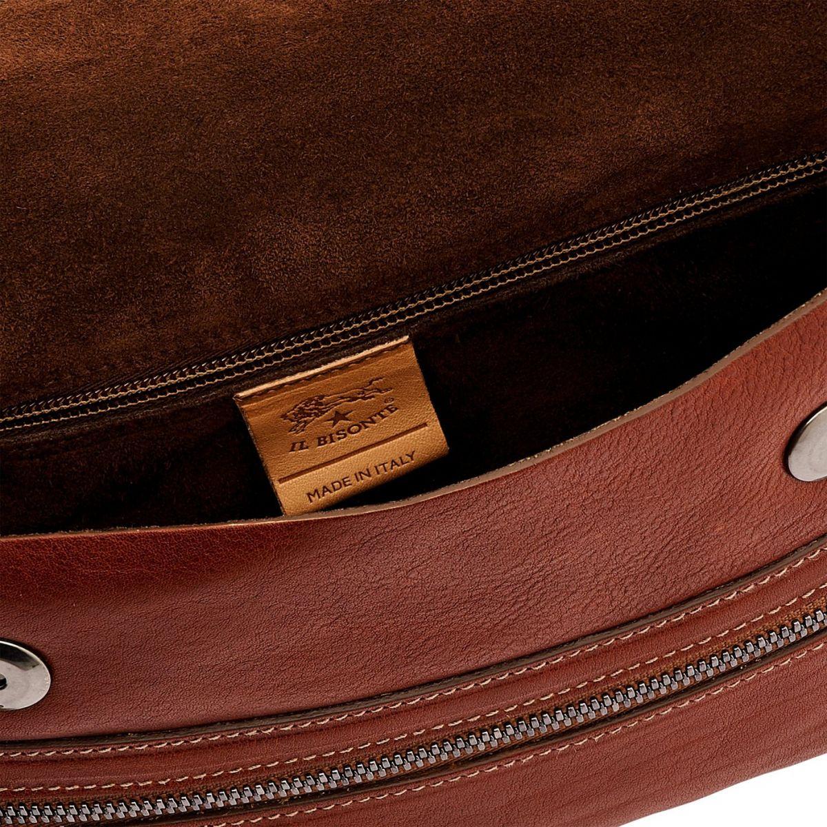 Men's Belt Bag Narciso in Vintage Cowhide Leather BBB024 color Dark Brown Seppia | Details