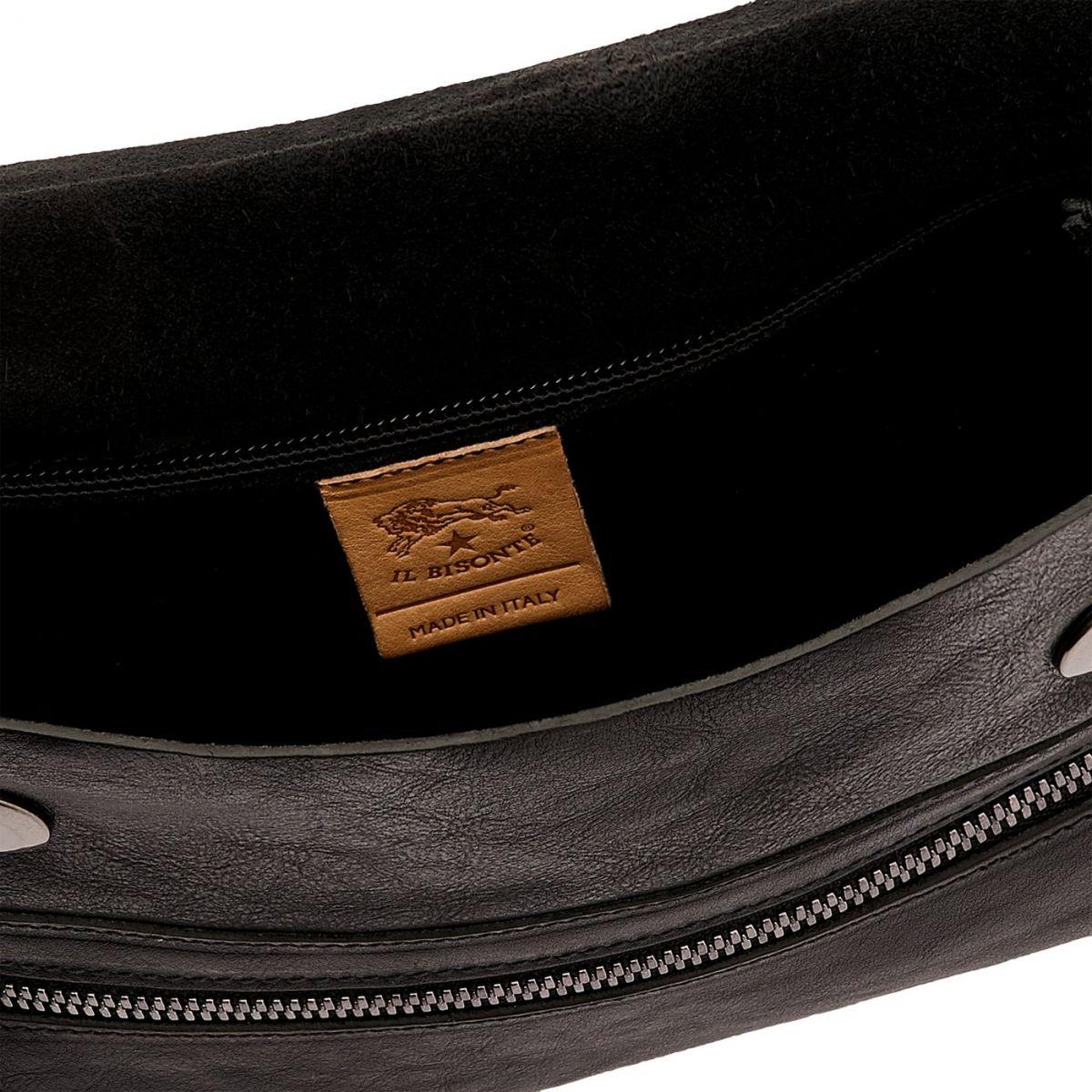 Men's Belt Bag Narciso in Vintage Cowhide Leather BBB024 color Black | Details