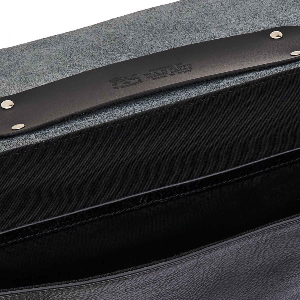 Briefcase in Cowhide Double Leather BBC001 color Black | Details