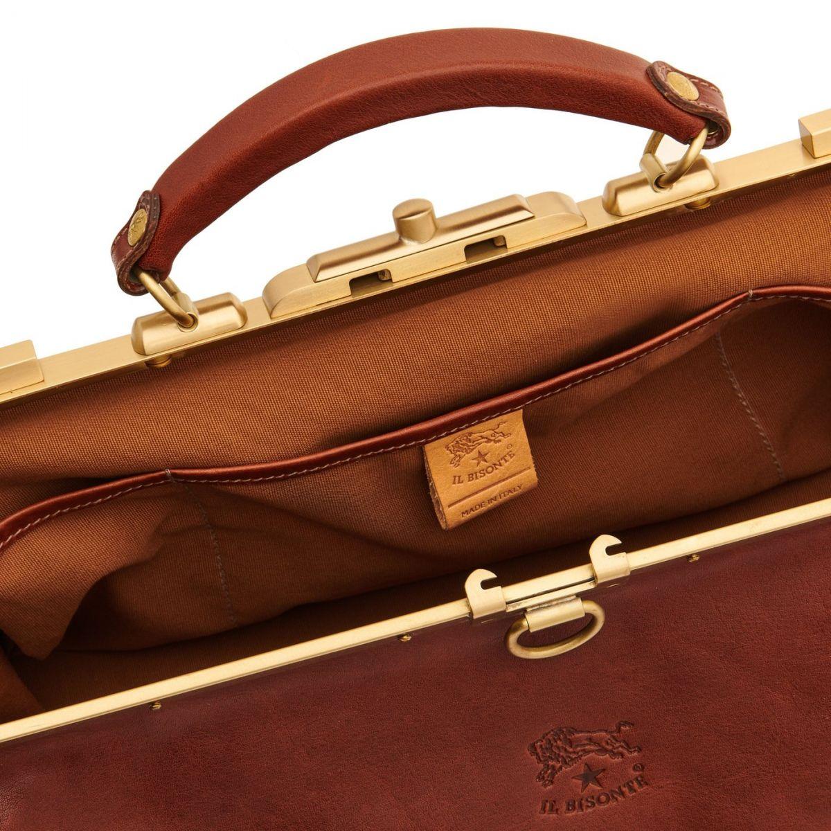 Serviette en Cuir De Vachette Vintage BBC007 couleur Brun Foncé Seppia | Details