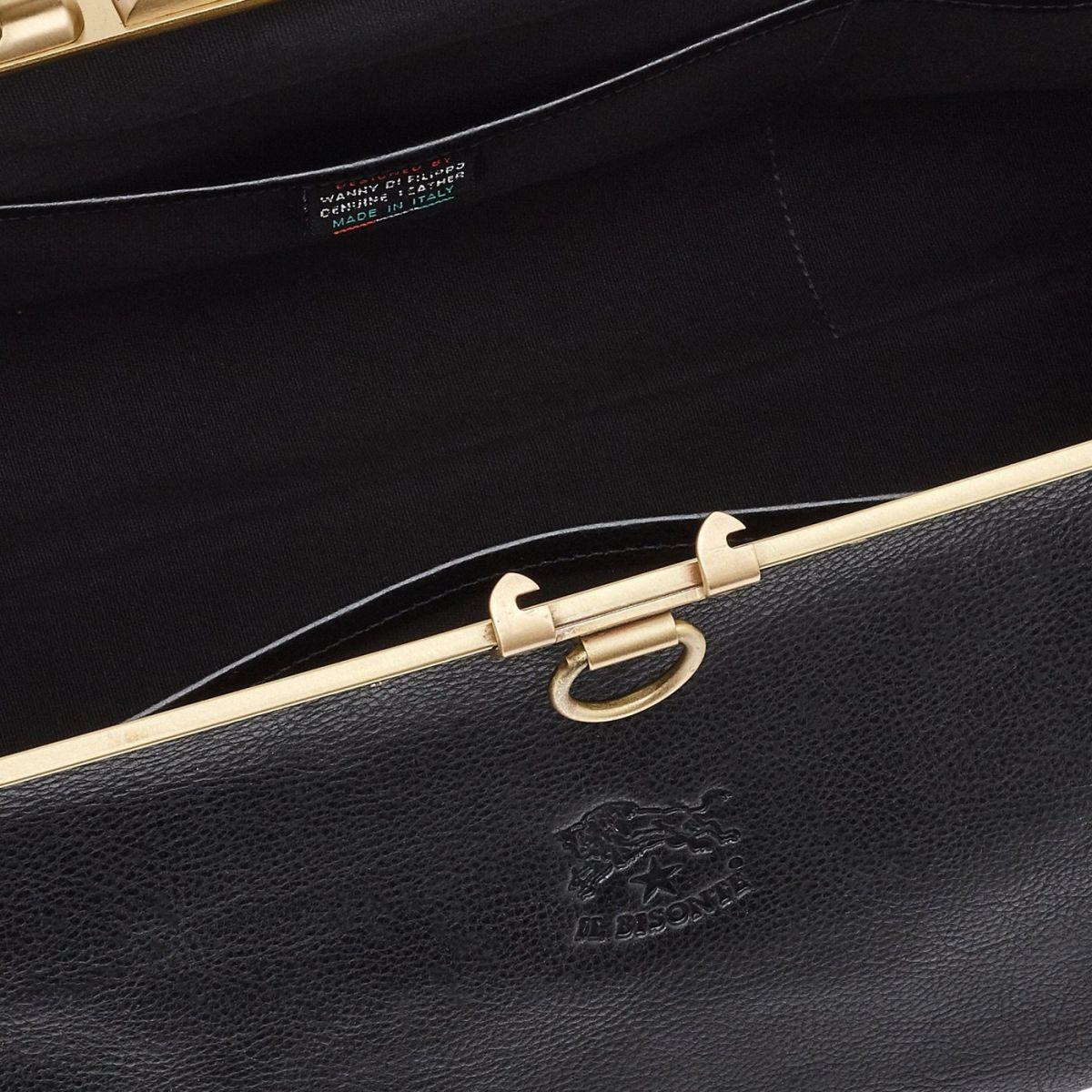 Serviette en Cuir De Vachette Doublé BBC007 couleur Noir | Details