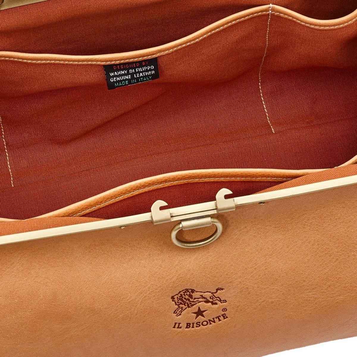 Serviette en Cuir De Vachette Doublé BBC007 couleur Naturel | Details