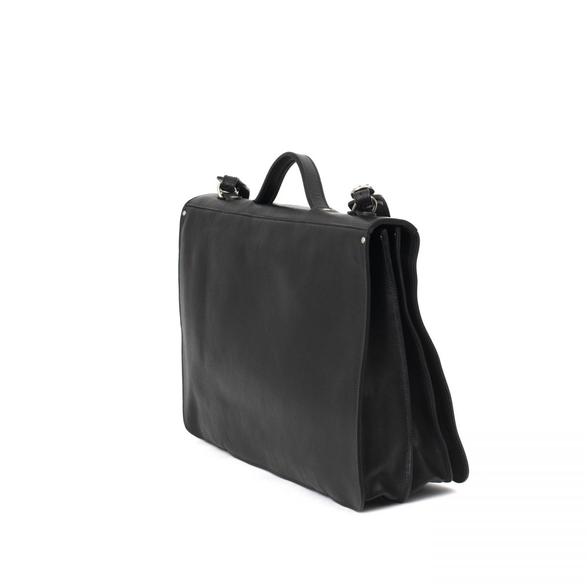 Briefcase in Cowhide Double Leather BBC010 color Black | Details