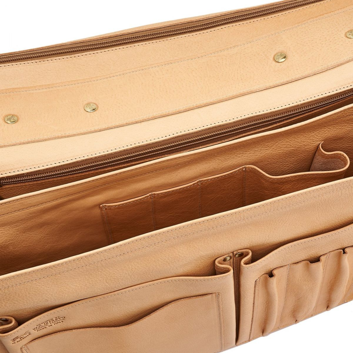 Briefcase in Cowhide Double Leather BBC010 color Natural | Details