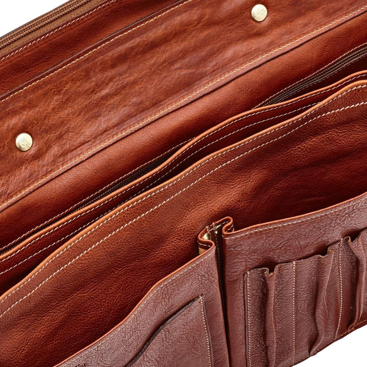 Serviette en Cuir De Vachette Vintage BBC013 couleur Brun Foncé Seppia | Details