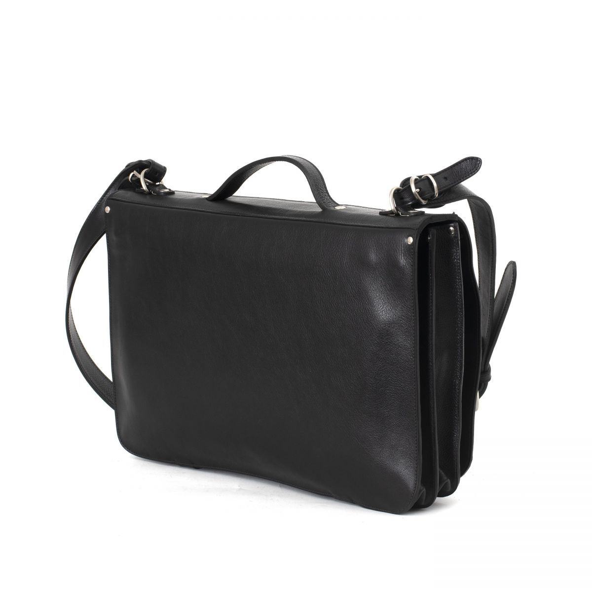 Briefcase in Cowhide Double Leather BBC013 color Black | Details