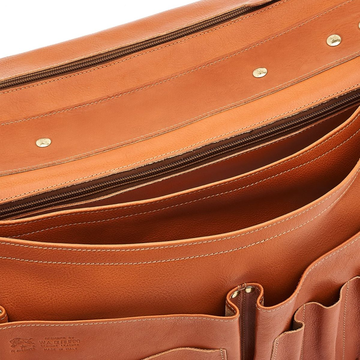 Briefcase in Cowhide Double Leather BBC013 color Caramel | Details