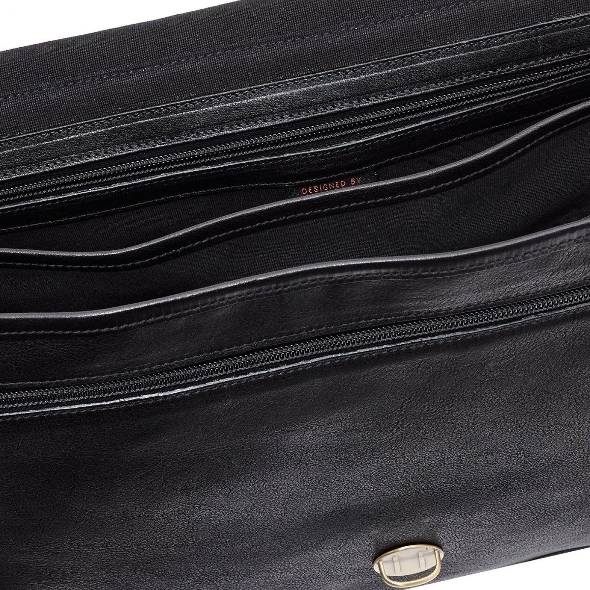 Briefcase in Vintage Cowhide Leather BBC014 color Black | Details