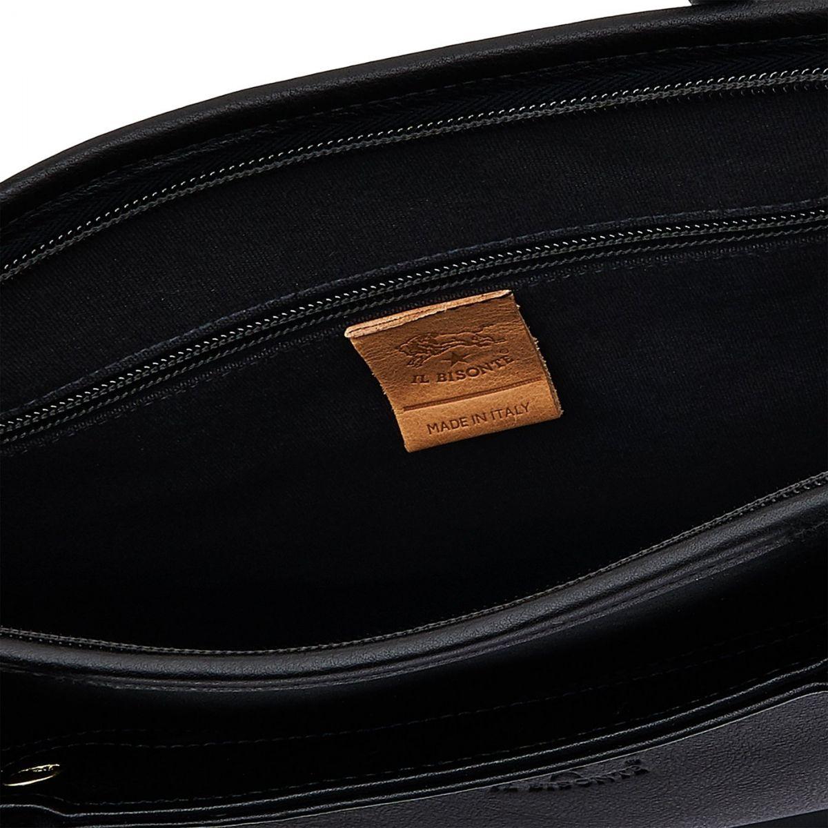Briefcase in Vintage Cowhide Leather BBC017 color Black | Details
