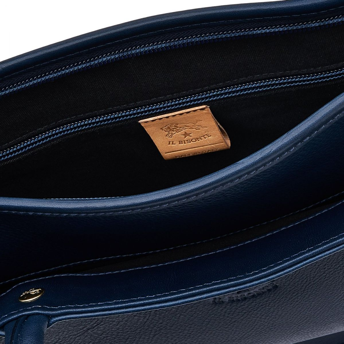 Briefcase in Cowhide Double Leather BBC017 color Blue | Details