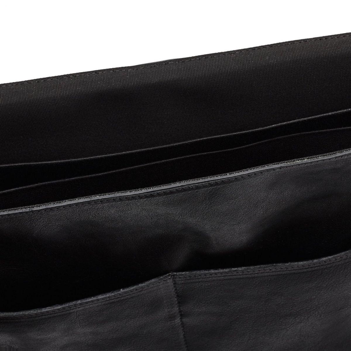 Briefcase in Vintage Cowhide Leather BBC026 color Black | Details