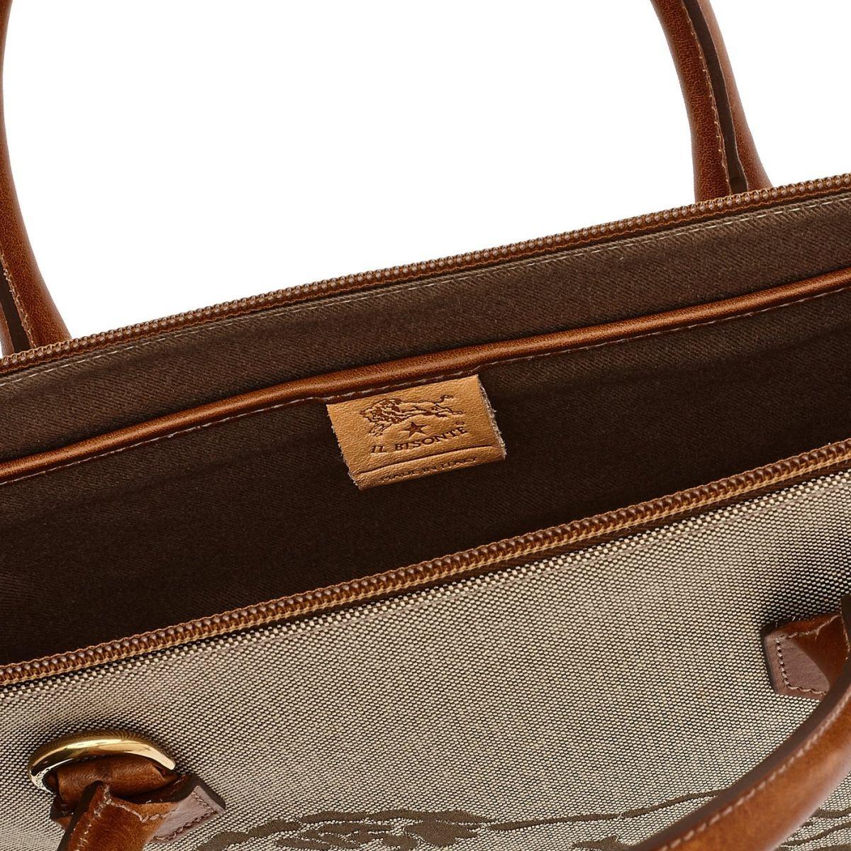 Valigetta  in Jaquard BBC033 colore Khaki/Cioccolato | Details