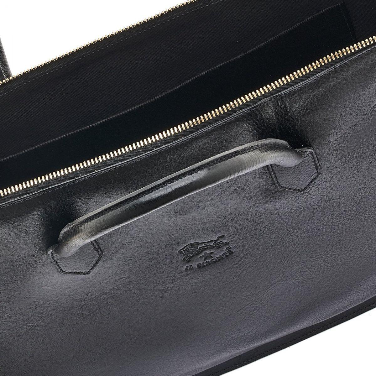 Briefcase in Cowhide Double Leather color Black - Michelangelo line BBC035 | Details