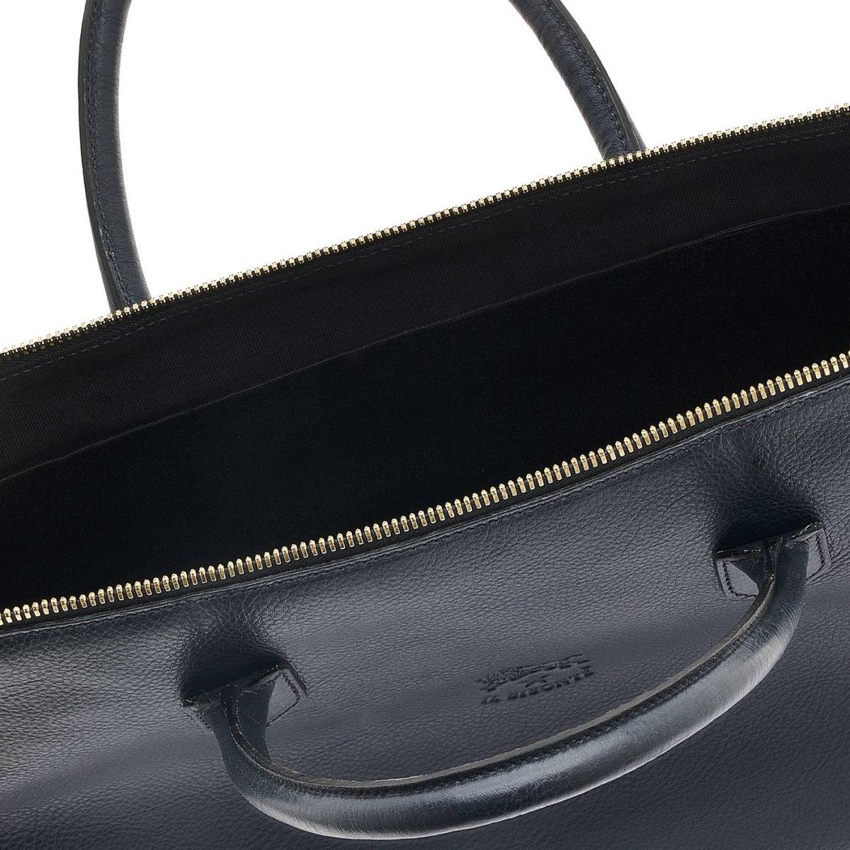 Briefcase in Cowhide Double Leather color Blue - Michelangelo line BBC035 | Details