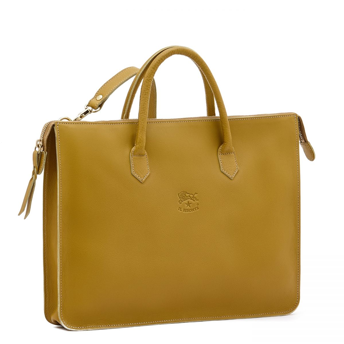 Briefcase Michelangelo in Cowhide Leather BBC035 color Curry | Details