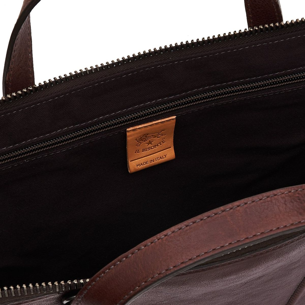 Briefcase Sprint in Vintage Cowhide Leather BBC040 color Dark Brown | Details