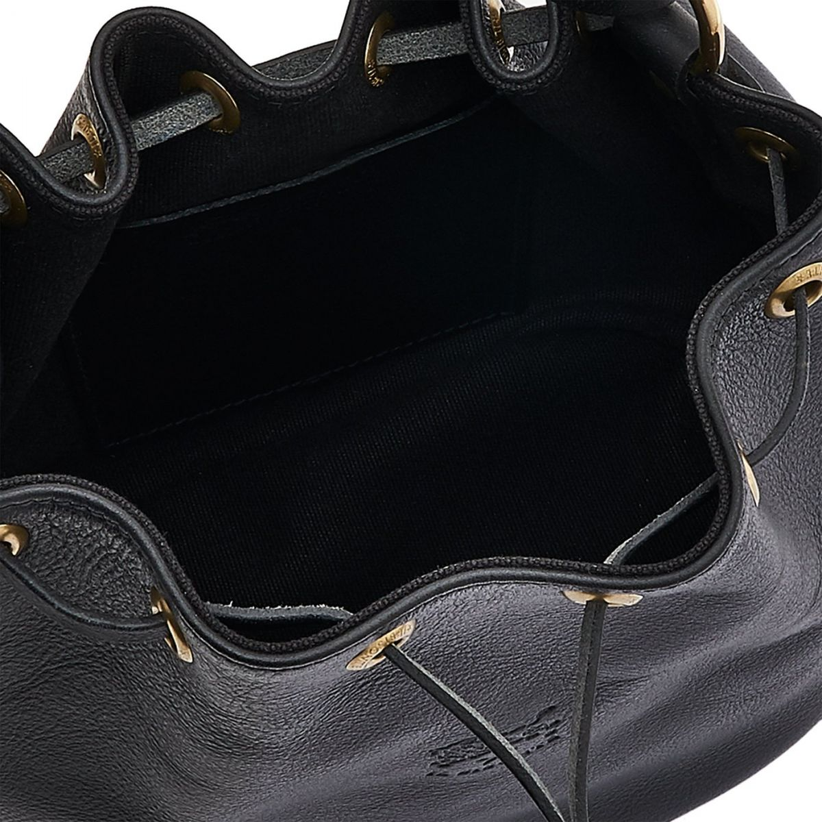 Borsa A Secchiello da Donna in Doppia Pelle Di Vacchetta BBU001 colore Nero | Details