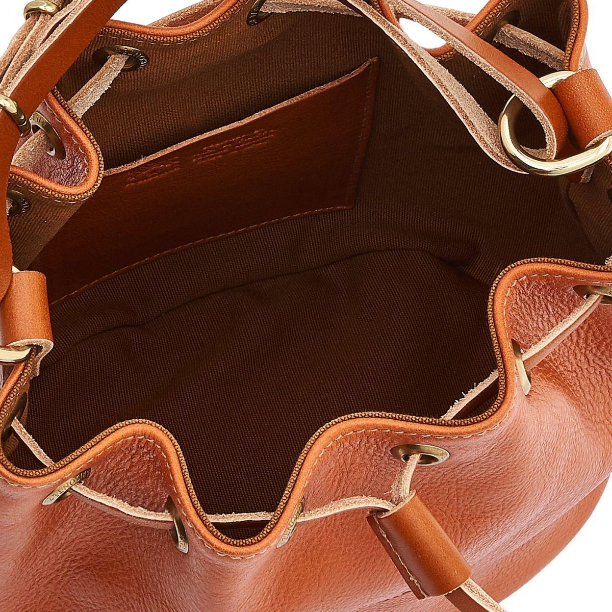 Women's Bucket Bag in Cowhide Double Leather BBU001 color Caramel | Details