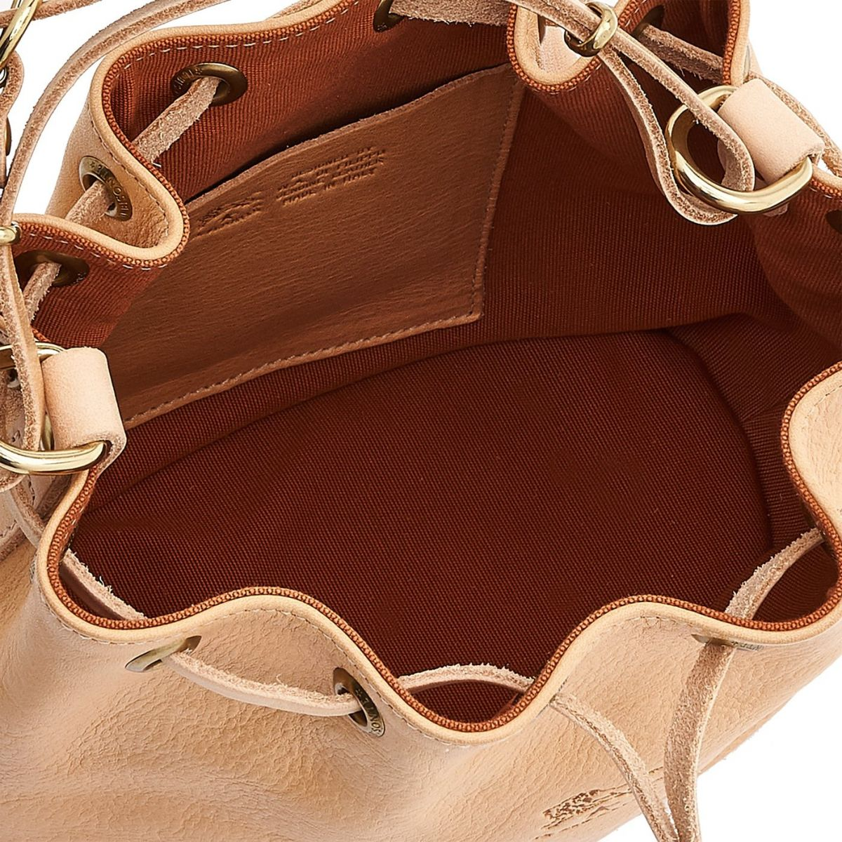 Women's Bucket Bag in Cowhide Double Leather BBU001 color Natural | Details