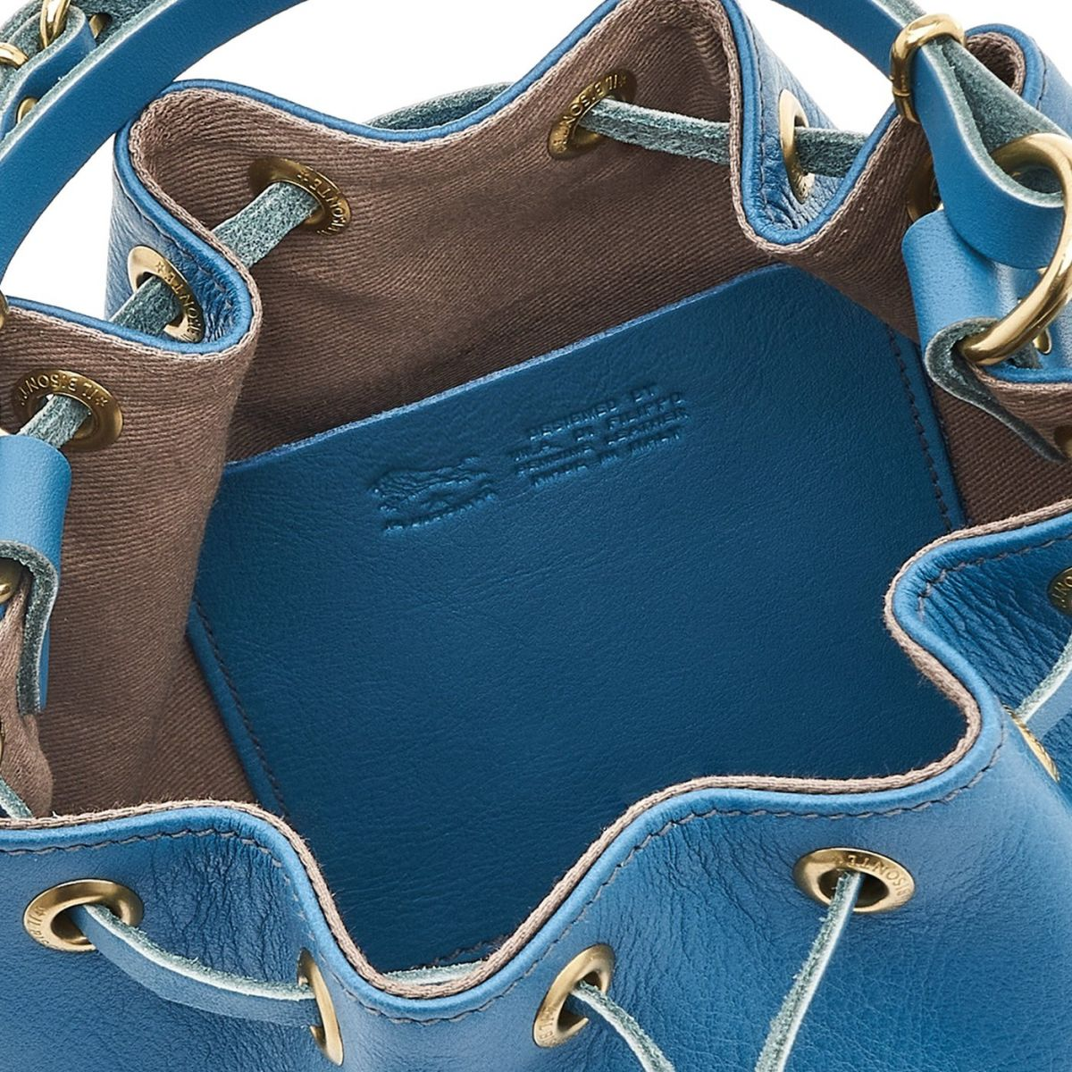 Borsa A Secchiello da Donna in Pelle Di Vacchetta colore Ottanio - BBU001 | Details