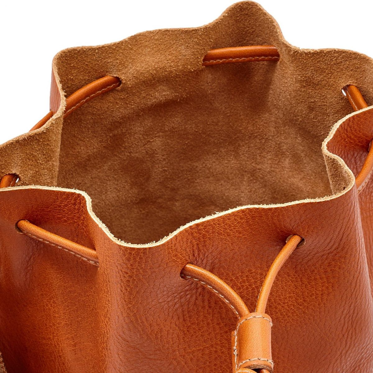 Women's Bucket Bag Stibbert in Cowhide Double Leather BBU006 color Caramel | Details