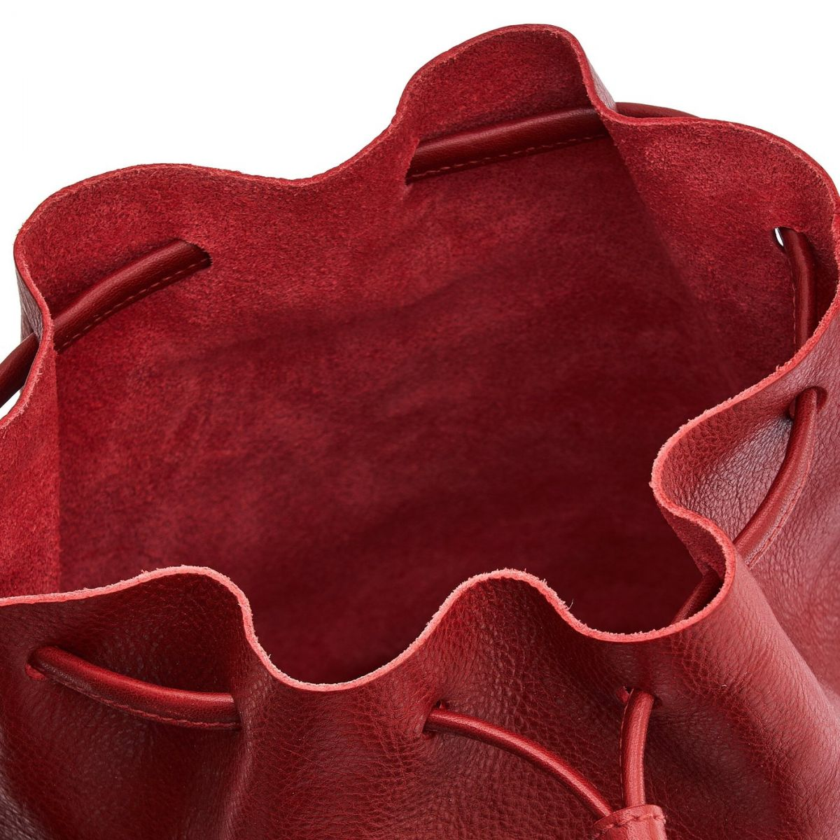 Women's Bucket Bag Stibbert in Cowhide Double Leather BBU006 color Red | Details