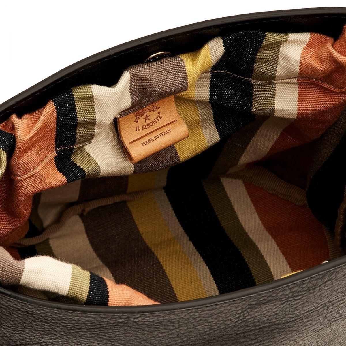 Women's Bucket Bag  in Cowhide Double Leather BBU018 color Black/Light Grey | Details