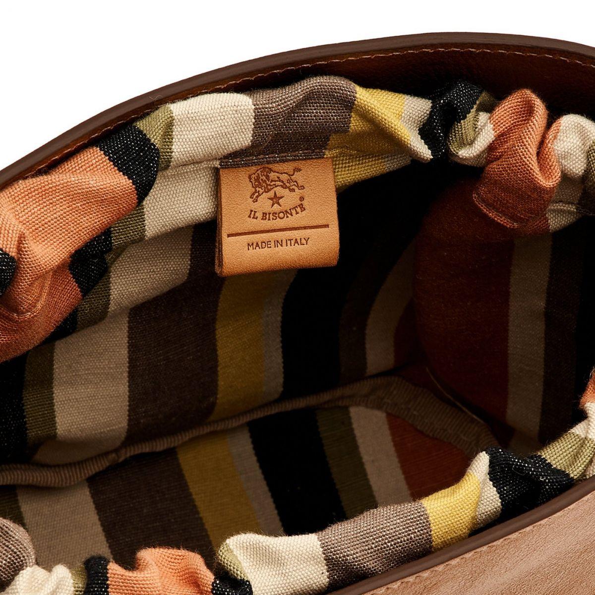 Women's Bucket Bag  in Cowhide Double Leather BBU018 color Black/Chocolate | Details
