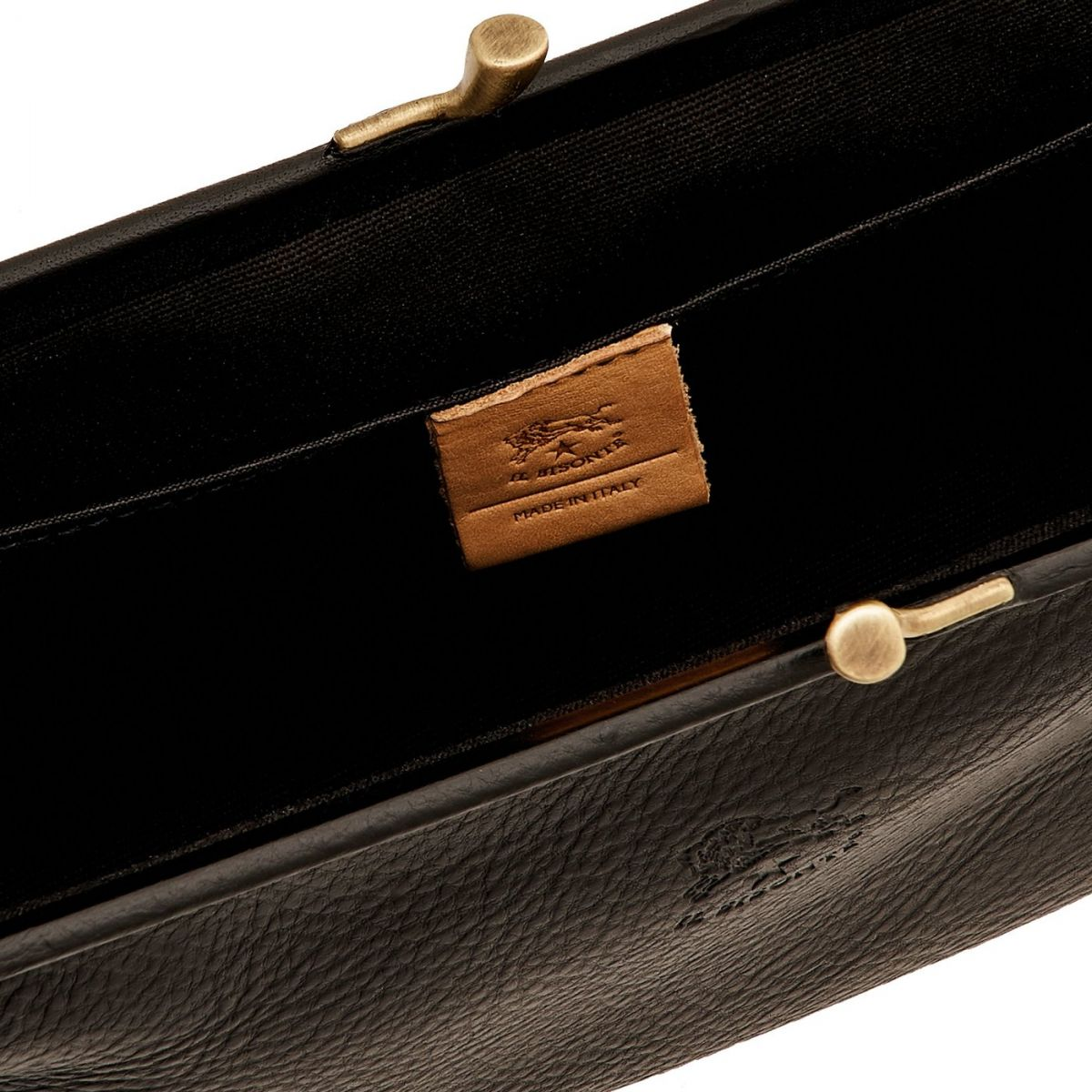 Women's Clutch Bag in Cowhide Double Leather BCL006 color Black | Details
