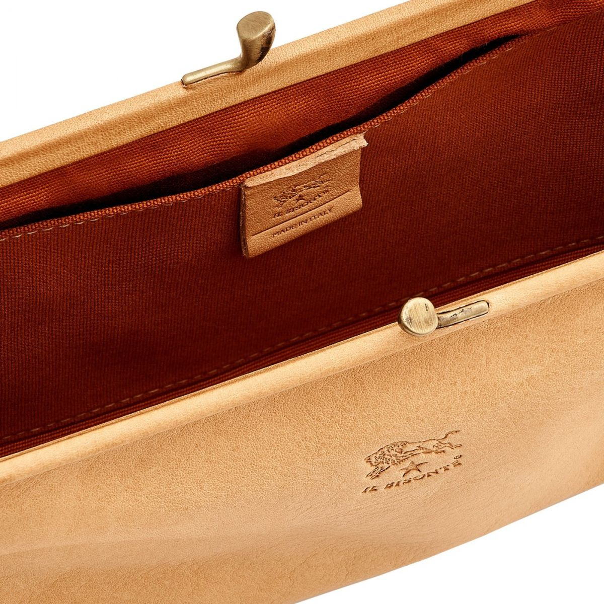 Women's Clutch Bag in Cowhide Double Leather BCL006 color Natural | Details