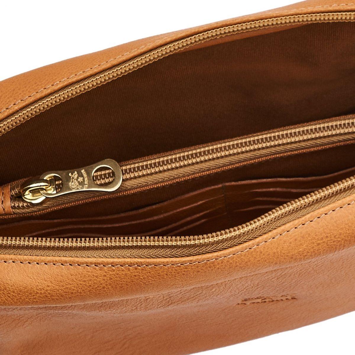 Men's Clutch Bag in Vintage Cowhide Leather BCL009 color Natural | Details
