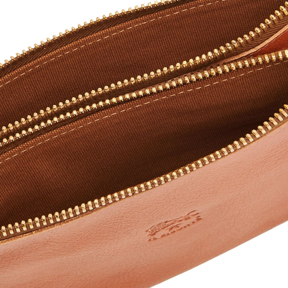 Women's Clutch Bag Talamone in Cowhide Double Leather BCL022 color Caramel | Details