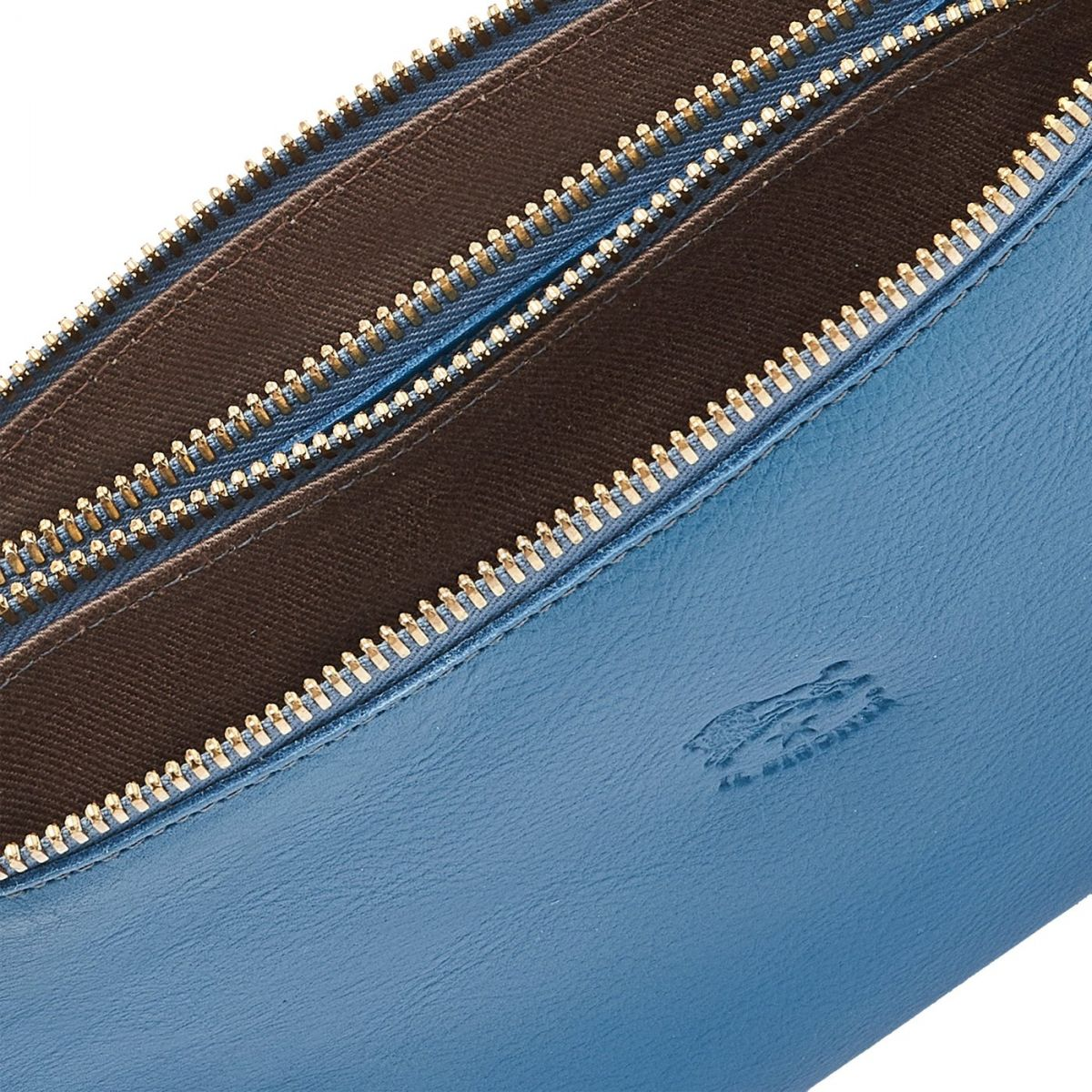 Giulia - Women's Clutch Bag in Cowhide Leather color Blue Teal - Talamone line BCL022   Details