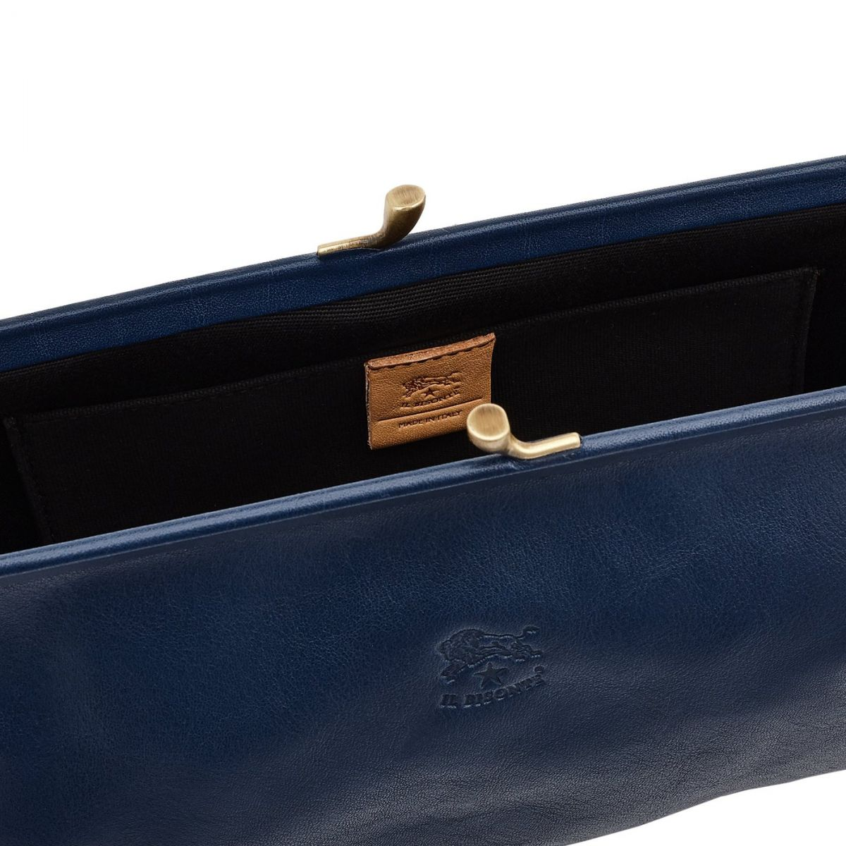 Women's Clutch Bag  in Cowhide Double Leather BCL027 color Blue | Details