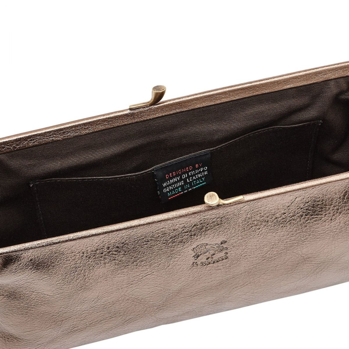 Women's Clutch Bag in Metallic Leather BCL027 color Metallic Bronze | Details