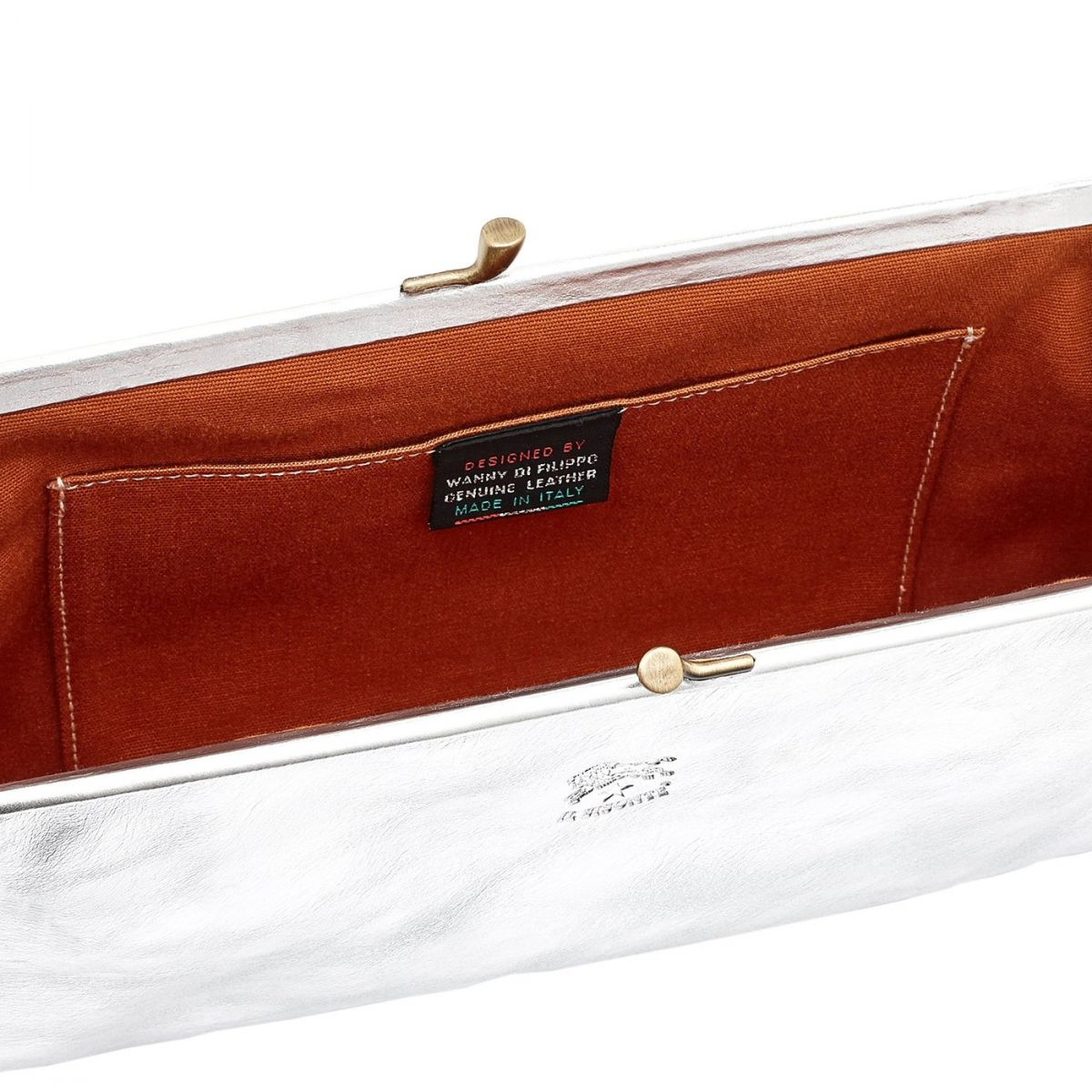 Women's Clutch Bag in Metallic Leather BCL027 color Metallic Silver | Details