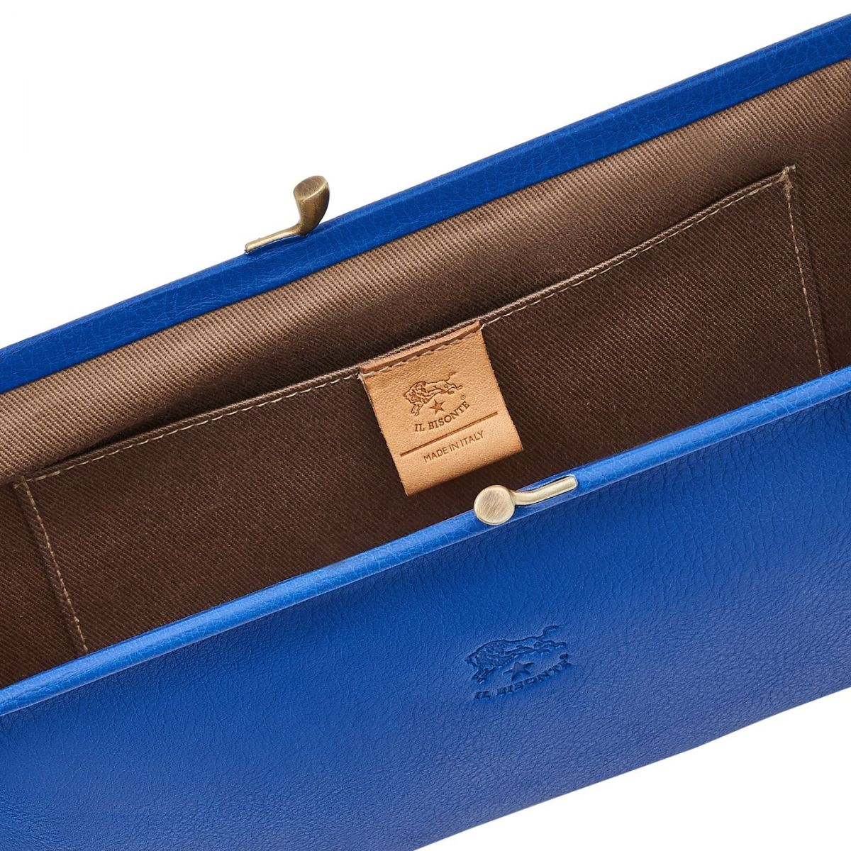 Women's Clutch Bag in Cowhide Leather BCL027 color Blueberry | Details
