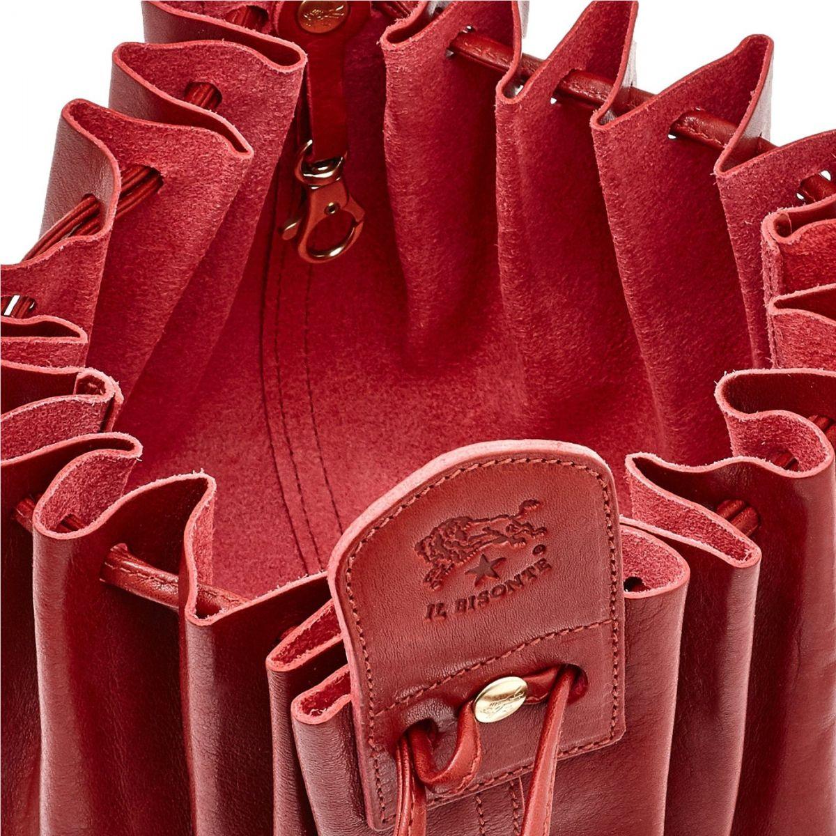 Sabrina - Sac Bandouliere pour Femme en Cuir De Vachette Doublé BCR002 couleur Rouge | Details