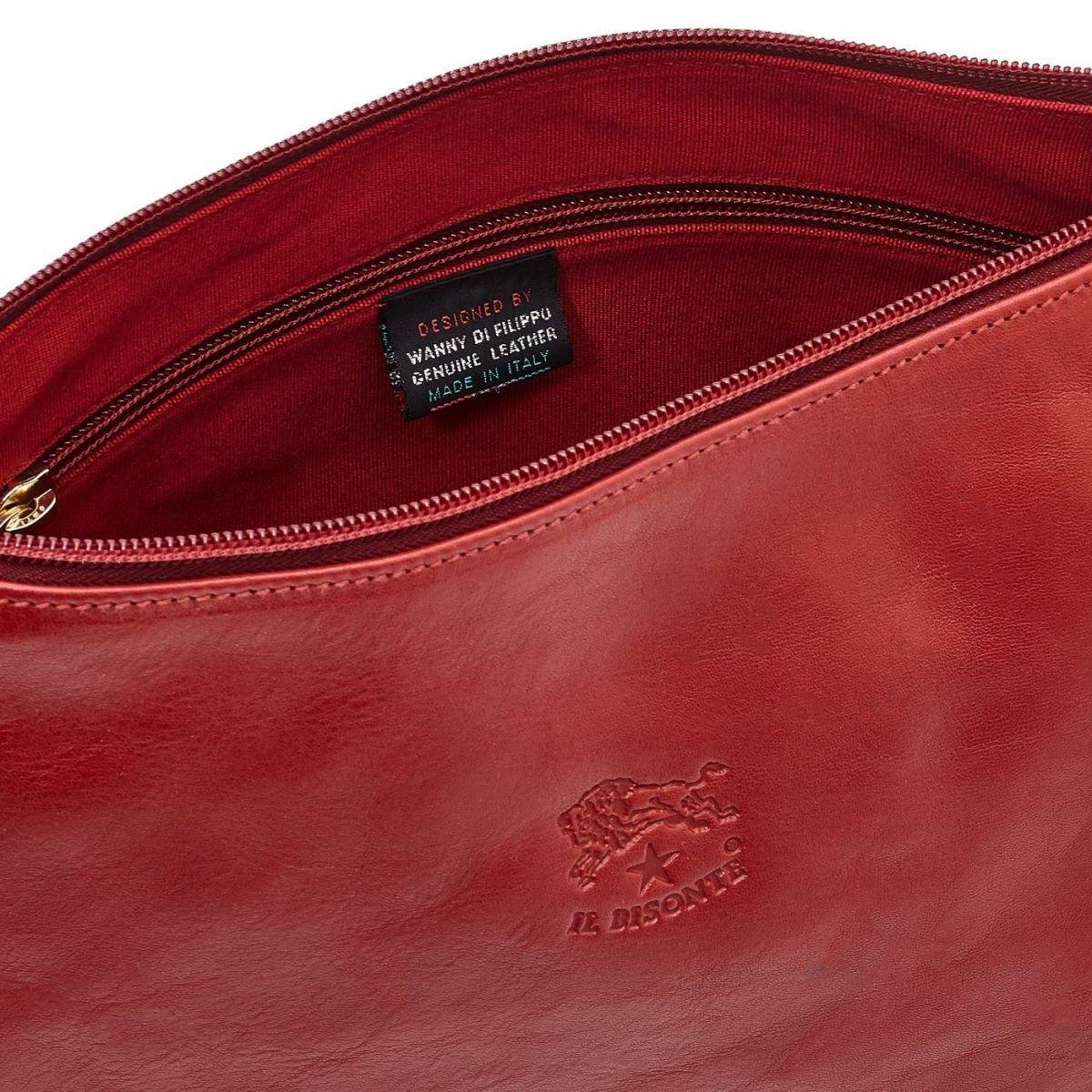 Women's Crossbody Bag in Cowhide Double Leather BCR003 color Red | Details