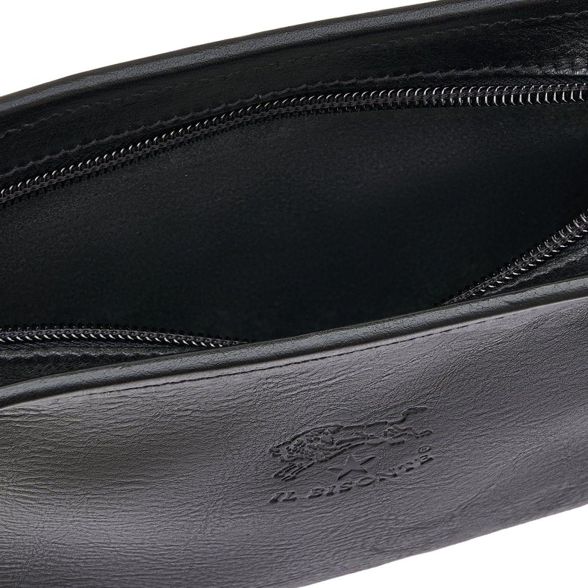 Sac Bandouliere pour Femme en Cuir De Vachette Doublé BCR009 couleur Noir | Details